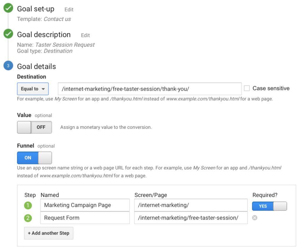 Google Analytics Create Conversion Goal