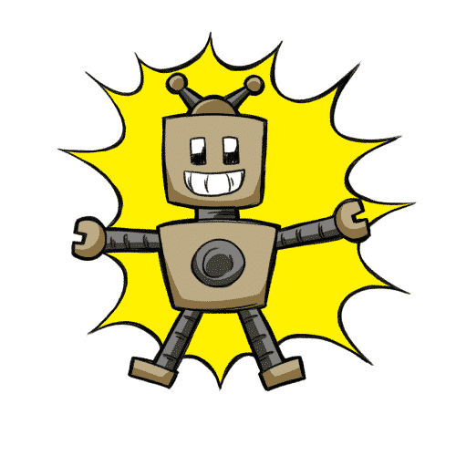 Robot with explosive star background