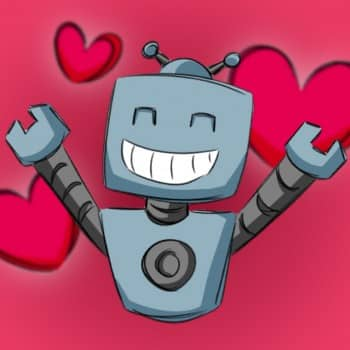 Happy robot surrounded by love hearts