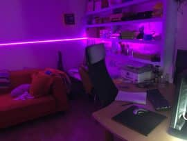 Al's cabin interior with purple light strip