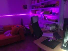 Al's cabin interior with purple light strip