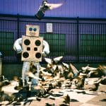 Illstration of robot feeding birds by Doctor Popular