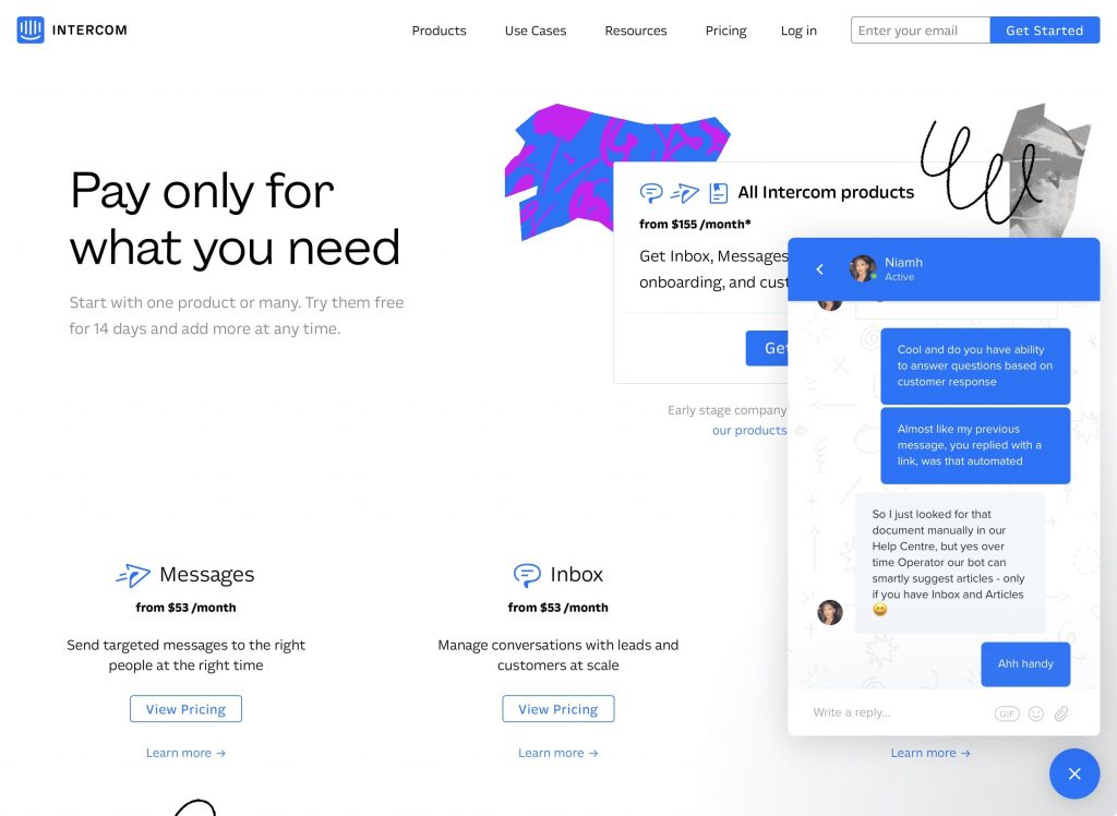 Intercom Inbox web chat sales website screenshot
