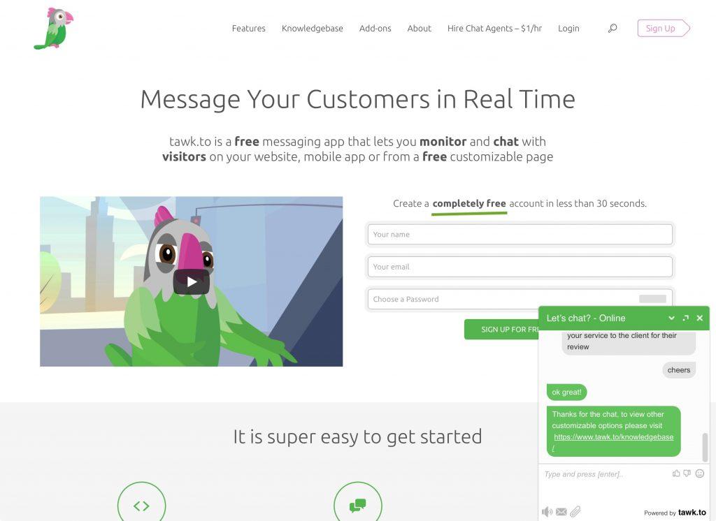 Tawk.to web chat sales website screenshot