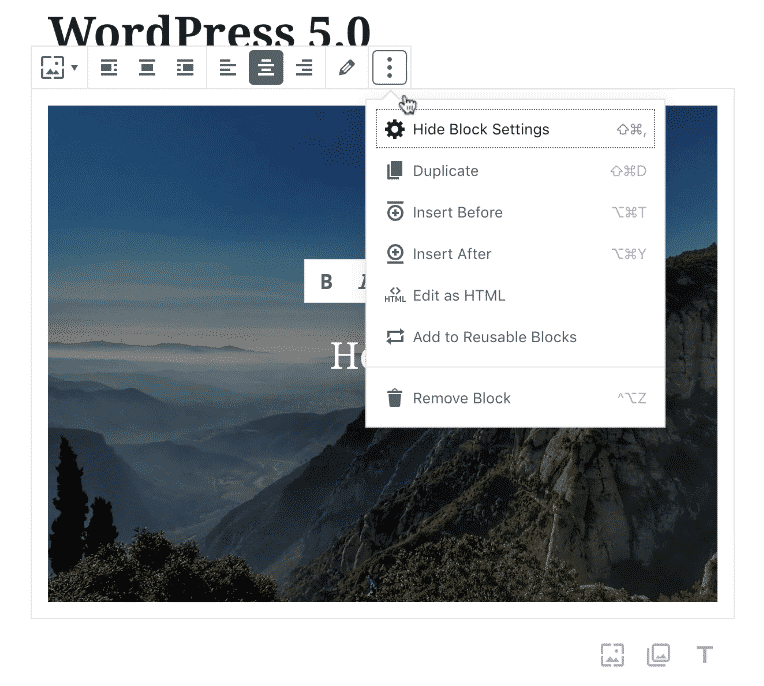 Screenshot of WP Gutenberg editor