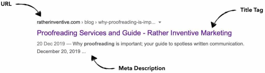 Screenshot of Marketing Club Google snippet alt