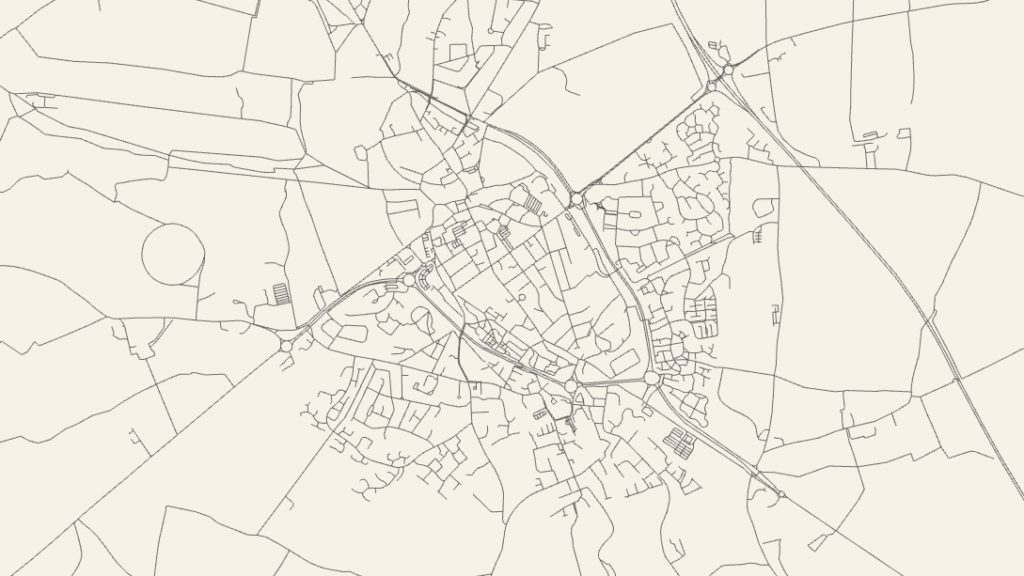 Black and white map of Cirencester