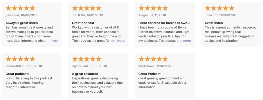 Feb 2020 Apple podcast reviews