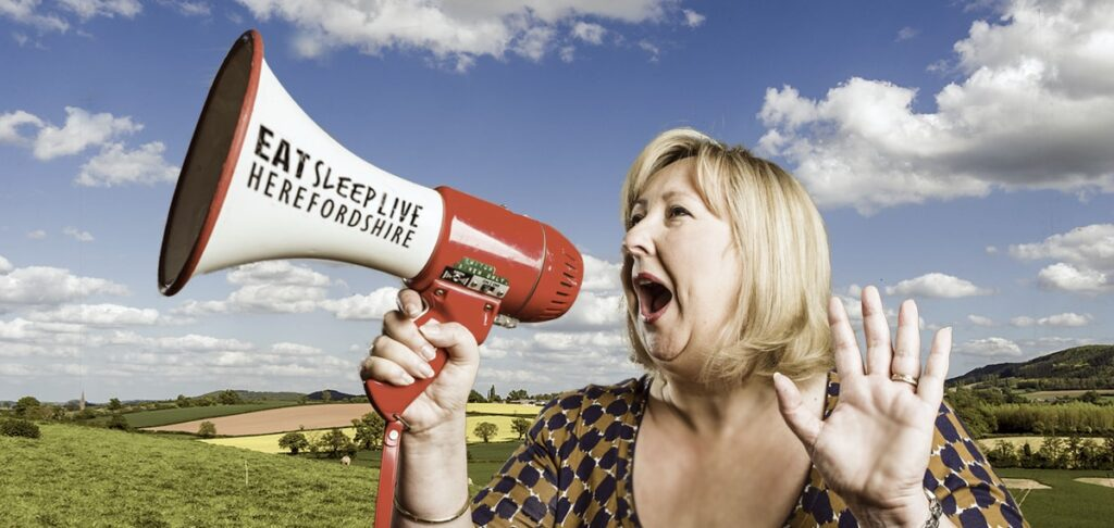 Heidi CJ Shouting in megaphone