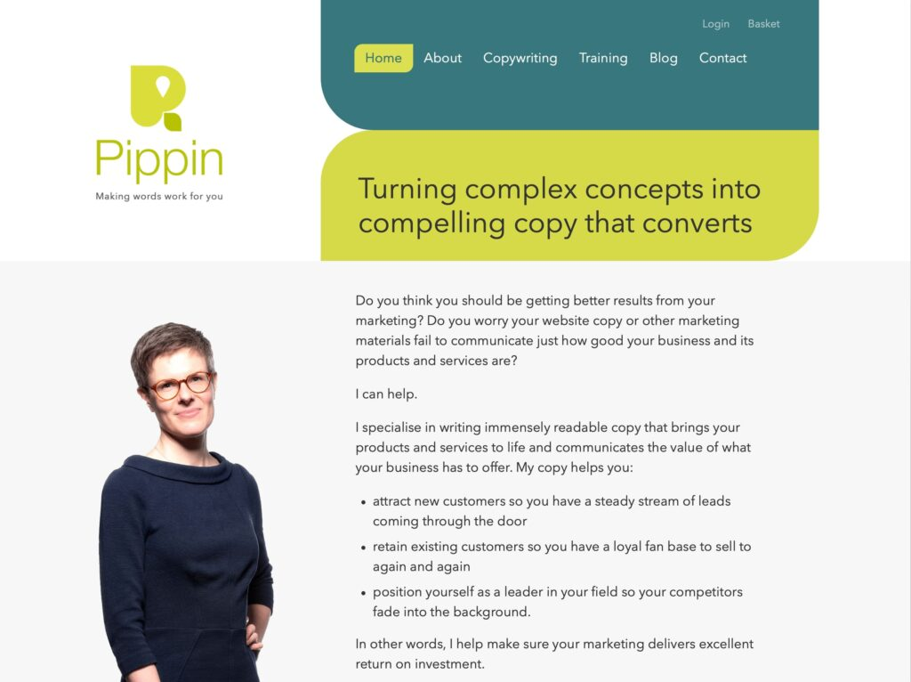Pippin Copywriting website hellopippin.co.uk
