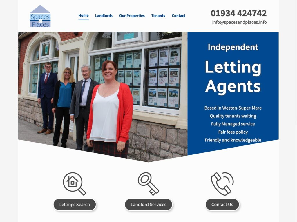 Spaces and Places letting agent website spacesandplaces.info