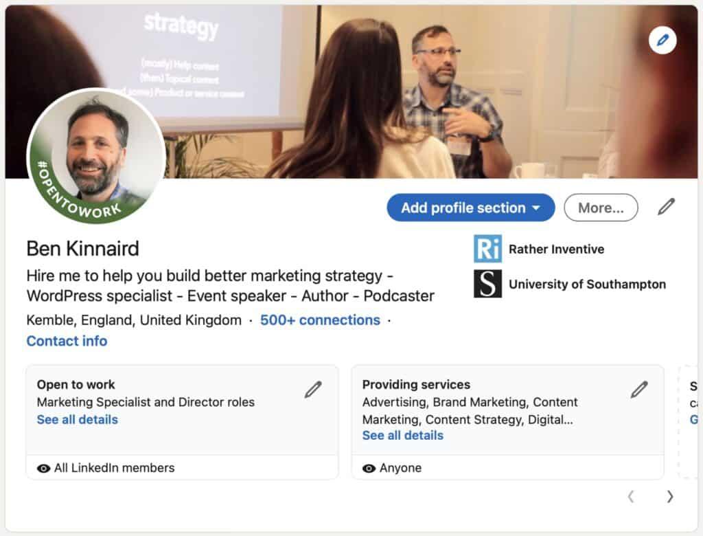 LinkedIn profile Ben Kinnaird screenshot