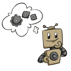 Robot thinking of cogs