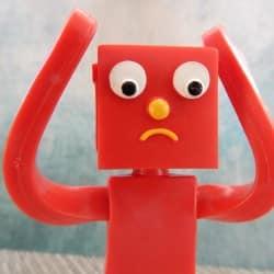 Upset, sad and confused figurine