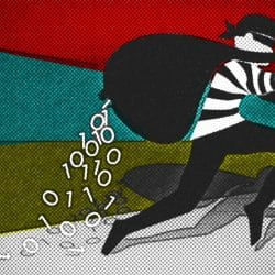 Illustration of a thief running with digital data spilling from his sack