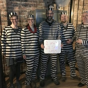 Rather Inventive Image of the team successfully completing the Prison Break Escape Room