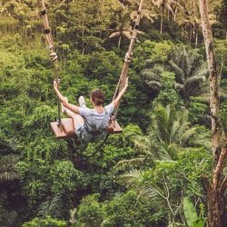 Image of a girl on an adventure swing high above a green jungle